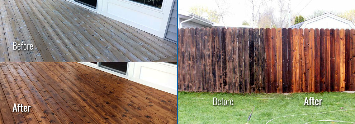 Fox Valley WI Wood Deck, Fence Cleaning and Restoration